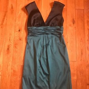Max & Cleo black and teal satin cocktail dress